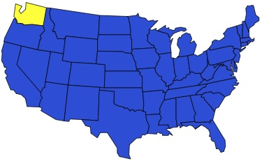 Washington State on a map of the US